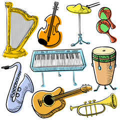 Musical instruments doodle vector set. Cute line art simply illustration