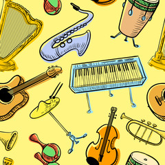 Musical instruments doodle vecto rseamless pattern. Music background
