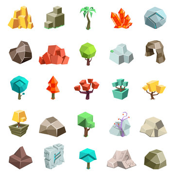 Trees rock stone boulder cave cristal rune cartoon isometric 3d flat style icons set game art environment low poly vector illustration