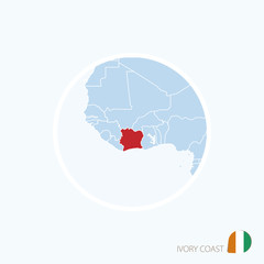 Map icon of Ivory Coast. Blue map of Africa with highlighted Ivory Coast.