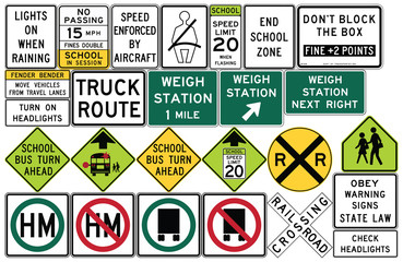 Road signs in the United States. Weigh Stations, Truck Routes
