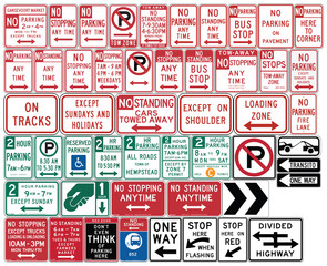 Road signs in the United States. One Way and Divided Highway
