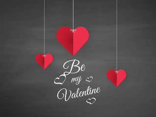 Vector Hanging Origami Hearts. Valentine's Day Design,