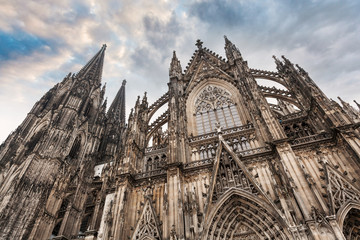 Cologne Cathedral in Cologne, Germany. Details of the facade. The Dom - Roman Catholic Gothic cathedral Wall mural