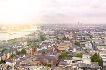 Aerial view of Cologne from the viewpoint of Cologne Cathedral. Panorama of the city. Germany