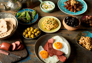Assortment of delicious arabic and turkish breakfast plates