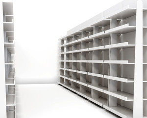 Row of racks with shelves isolated on white background. 3d rende
