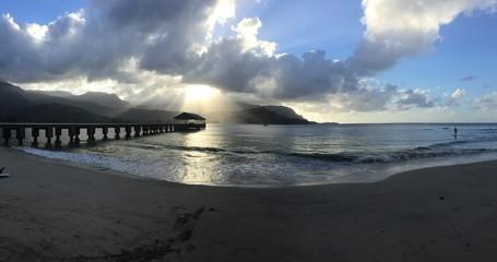 Hanalei Pier at sunset in Kauai, Hawaii