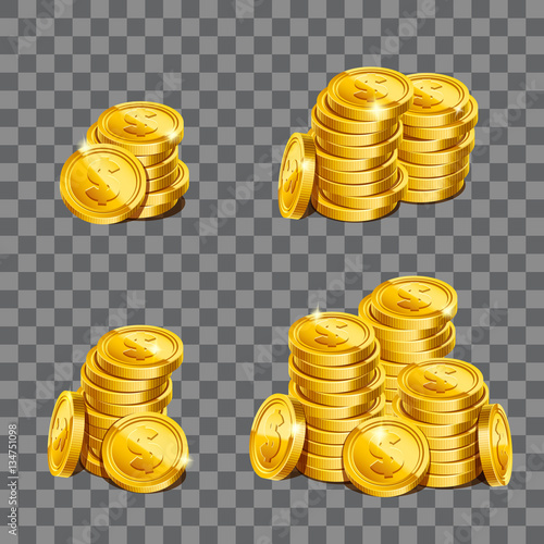 Fistful Of Gold Coins On Transparent Background Game Illustration Eps10 Vector