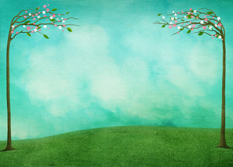 Poster Green coral Spring background for greeting card or poster Easter Holiday