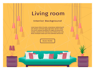 Graceful bright living room interior banner for your web design.
