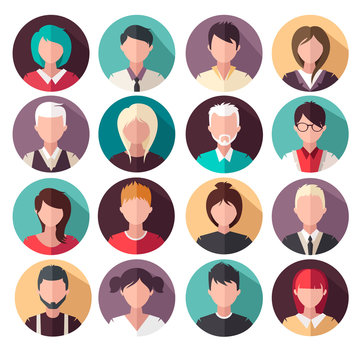 set of vector flat icons. People icons. avatars.