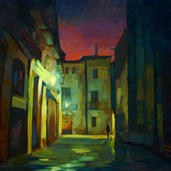 gothic quarter in barcelona at night, painting, illustration