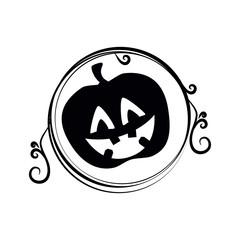 pumpkin halloween card icon vector illustration design