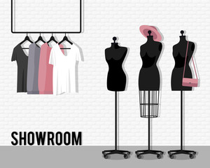 Vector illustration with showroom