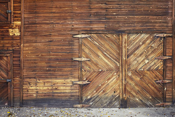Picture of an old wooden closed door