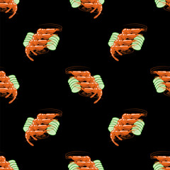 Cooked Red Srimps Seamless Pattern on Black Background. Tasty Sea Food.