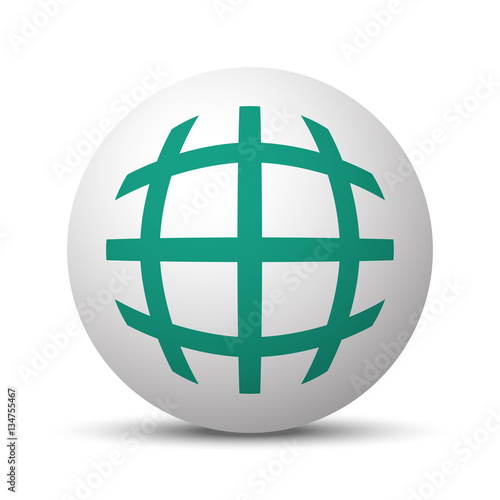 """""""Green Globe icon on white sphere"""" Stock image and royalty ..."""