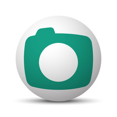 Green Camera icon on white sphere