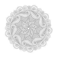 Graphic Abstract Mandala. Zentangle inspired style.