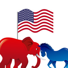 usa country flag, red elephant and blue horse over white background. colorful design. vector illustration
