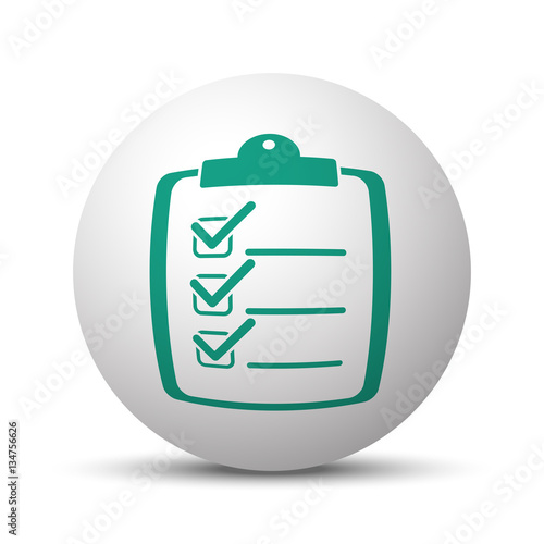 Green Clipboard Checklist icon on white sphere