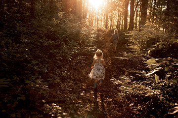 Two children walking in woodland