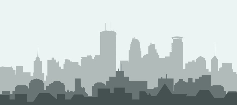 Minneapolis city Skyline - Vector