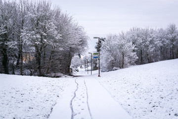 Bike path covered by snow in UK winter in Milton Keynes 1