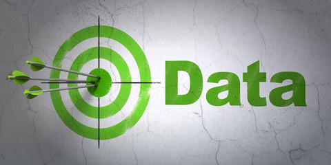 Data concept: target and Data on wall background