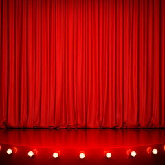 Red glossy stage with lighting and red curtain. 3D rendering