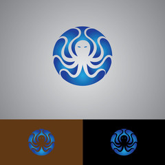 Octopus set of silhouettes vector. Collection of animal icons