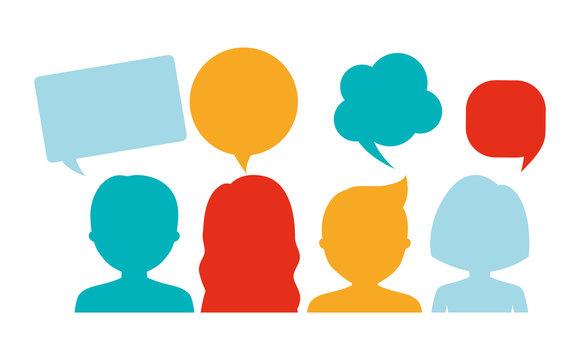 people having conversation icon image vector illustration design