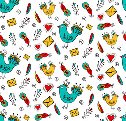 Hand drawn cute birds feathers letters romantic doodles seamless vector pattern