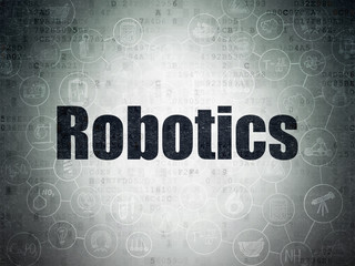 Science concept: Robotics on Digital Data Paper background