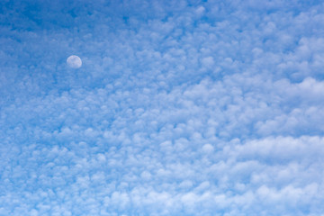 Moon with Puffy Clouds and Blue Sky in Daytime