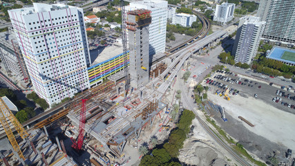 Construction of Miami Central Station and Brightline