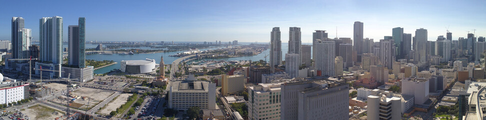 Aerial panorama of Downtown Miami Florida