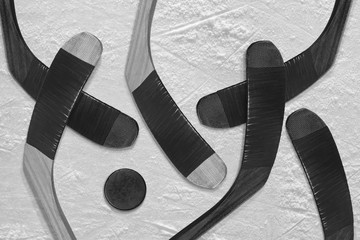 Hockey puck and stick on the ice