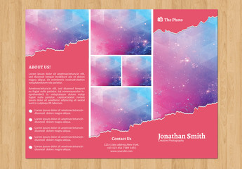 Trifold Brochure Layout with Paper Tear Element
