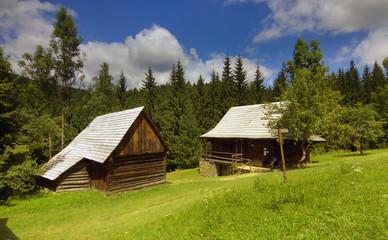 Old rural woody houses in Slovakia