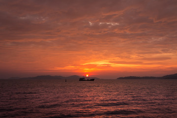 beautiful and peaceful sunset at paradise tropical island,travel thailand.