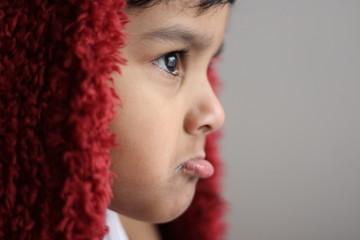 Close Up of Boy with Sad Face