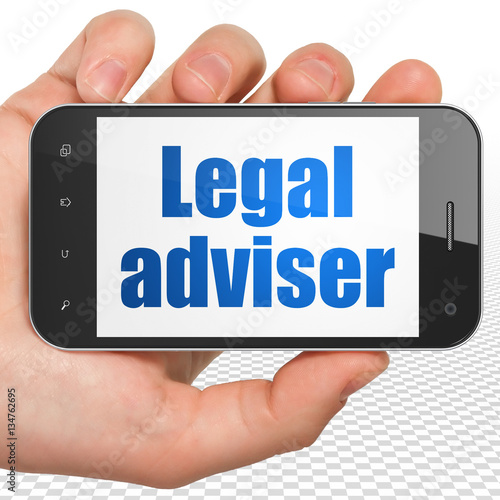 """""""Law concept: Hand Holding Smartphone with Legal Adviser ..."""