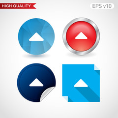 Colored icon or button of up arrow symbol with background