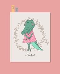 Cute crocodile girl in dress.