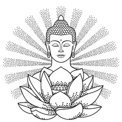 Buddha and Lotus with beam of light