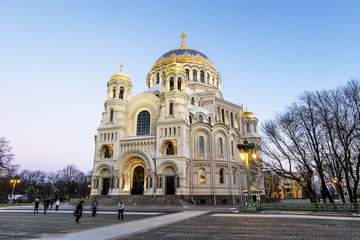 View of the Kronstadt Naval Cathedral in the Christmas winter ev