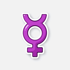 Cartoon sticker with transgender Mercury symbol