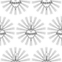 Immaculate Heart Virgin Mary Seamless Pattern